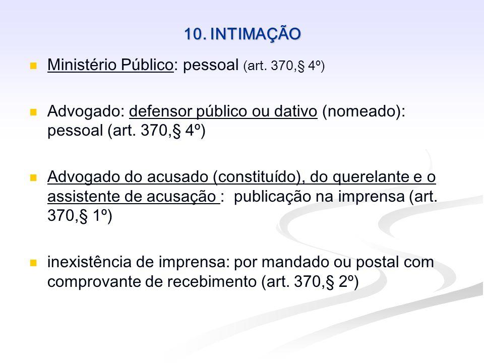 10. INTIMAÇÃO Ministério Público: pessoal (art. 370,§ 4º) Advogado: defensor público ou dativo (nomeado): pessoal (art. 370,§ 4º) Advogado do acusado