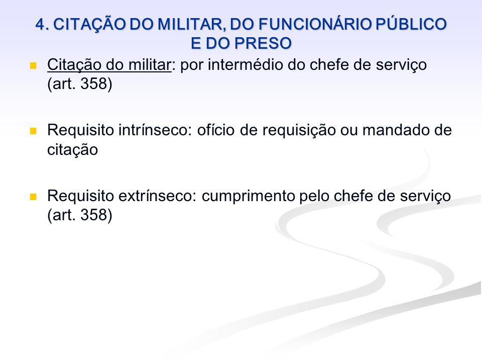 4. CITAÇÃO DO MILITAR, DO FUNCIONÁRIO PÚBLICO E DO PRESO Citação do militar: por intermédio do chefe de serviço (art. 358) Requisito intrínseco: ofíci