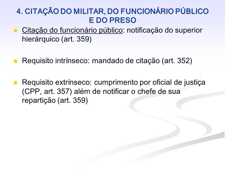 4. CITAÇÃO DO MILITAR, DO FUNCIONÁRIO PÚBLICO E DO PRESO Citação do funcionário público: notificação do superior hierárquico (art. 359) Requisito intr