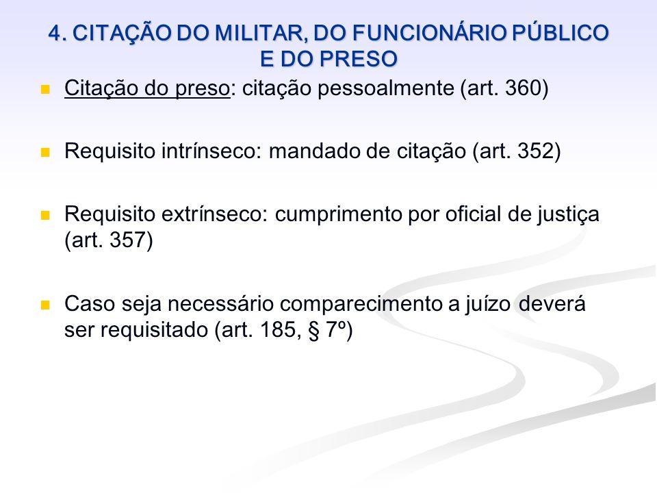 4. CITAÇÃO DO MILITAR, DO FUNCIONÁRIO PÚBLICO E DO PRESO Citação do preso: citação pessoalmente (art. 360) Requisito intrínseco: mandado de citação (a