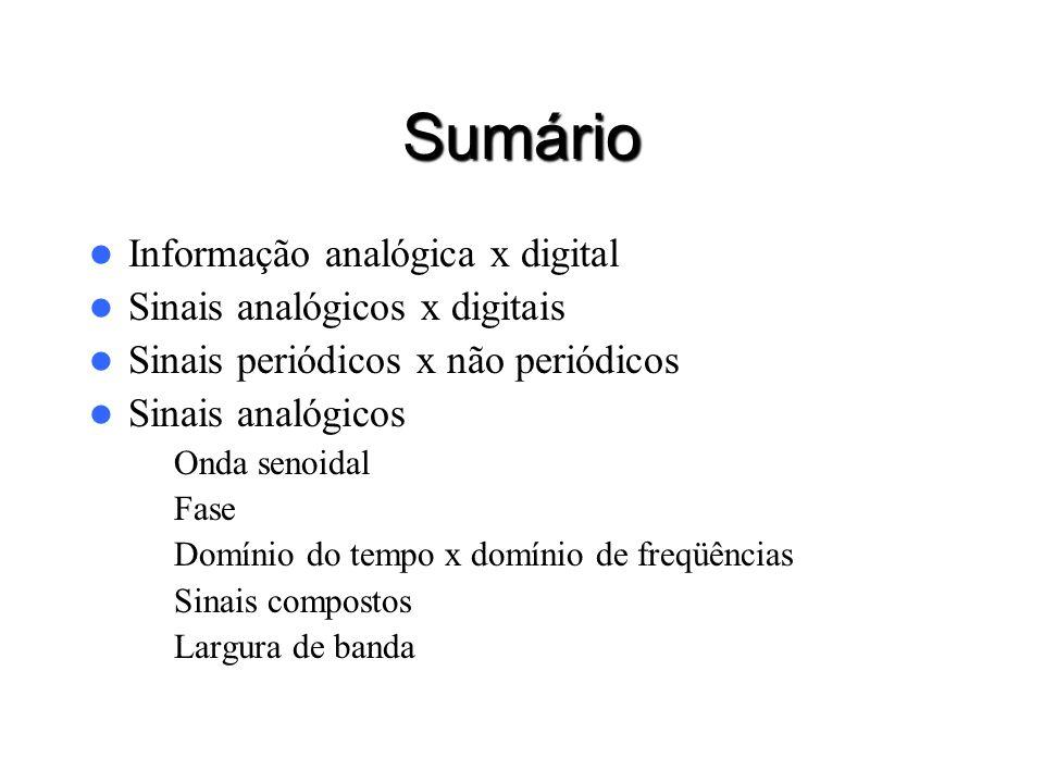 Sumário Informação analógica x digital Sinais analógicos x digitais Sinais periódicos x não periódicos Sinais analógicos – Onda senoidal – Fase – Domí