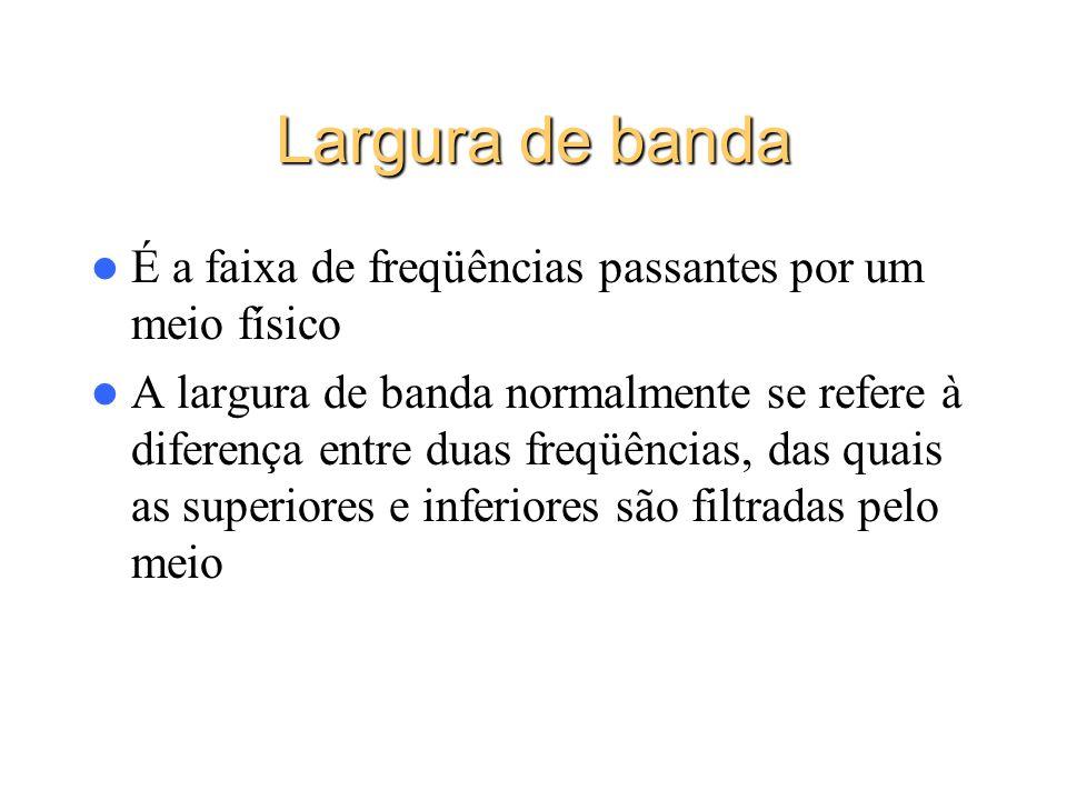 Largura de banda É a faixa de freqüências passantes por um meio físico A largura de banda normalmente se refere à diferença entre duas freqüências, da
