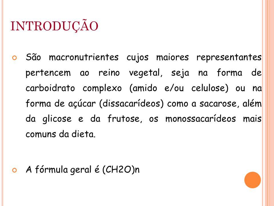 INTRODUÇÃO São macronutrientes cujos maiores representantes pertencem ao reino vegetal, seja na forma de carboidrato complexo (amido e/ou celulose) ou