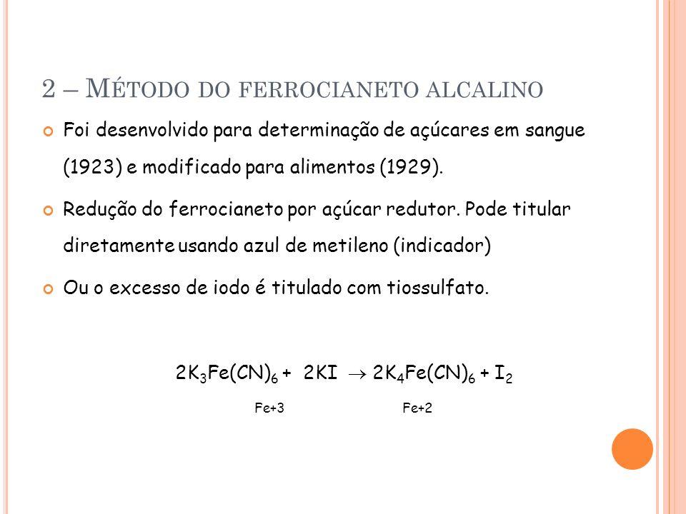 2 – M ÉTODO DO FERROCIANETO ALCALINO Foi desenvolvido para determinação de açúcares em sangue (1923) e modificado para alimentos (1929). Redução do fe