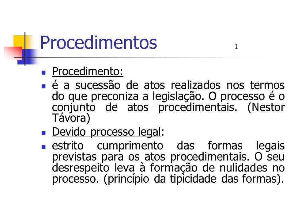 Procedimentos 1 Procedimento: é a sucessão de atos realizados nos termos do que preconiza a legislação. O processo é o conjunto de atos procedimentais