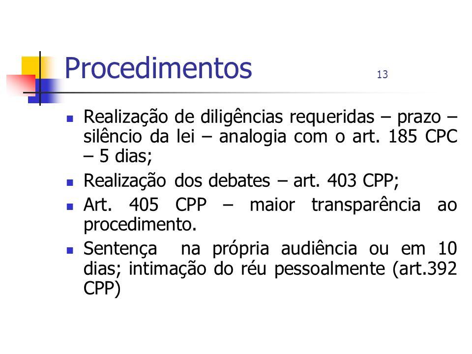 Procedimentos 13 Realização de diligências requeridas – prazo – silêncio da lei – analogia com o art. 185 CPC – 5 dias; Realização dos debates – art.