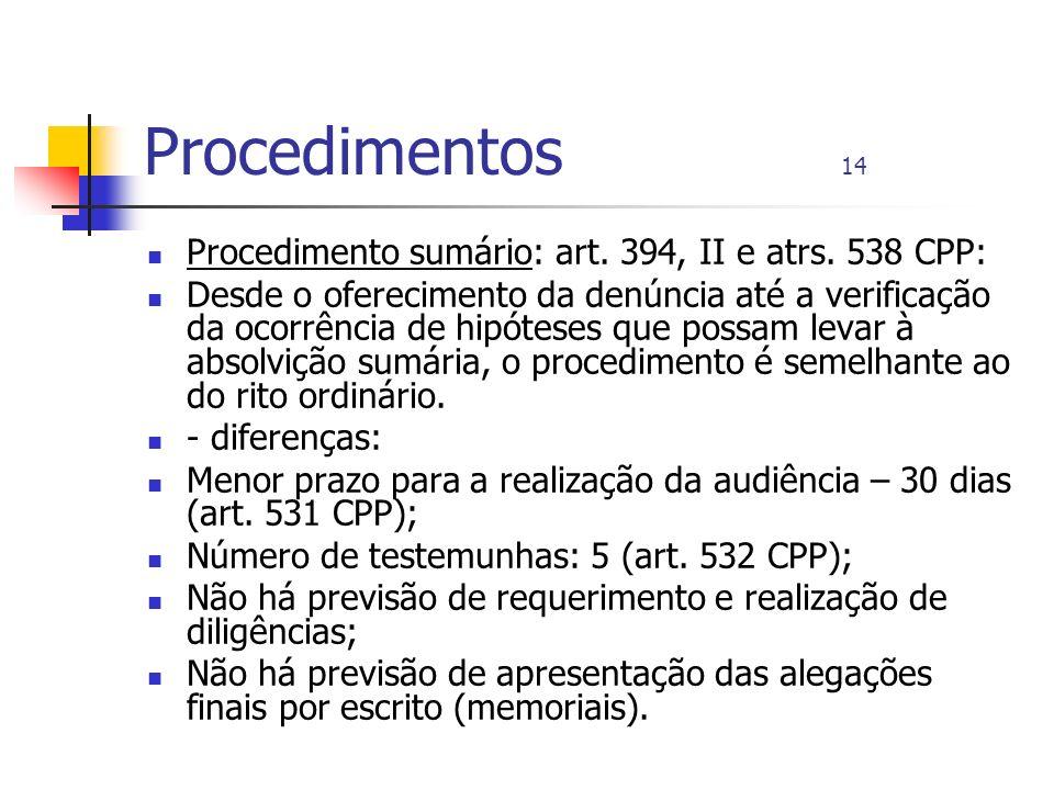 Procedimentos 14 Procedimento sumário: art. 394, II e atrs. 538 CPP: Desde o oferecimento da denúncia até a verificação da ocorrência de hipóteses que