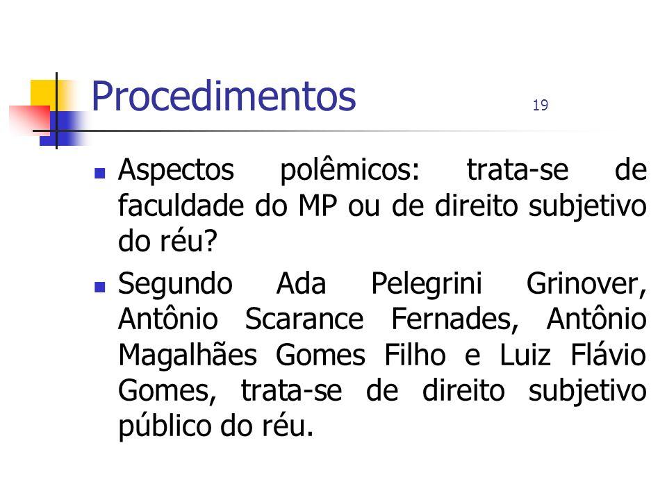 Procedimentos 19 Aspectos polêmicos: trata-se de faculdade do MP ou de direito subjetivo do réu? Segundo Ada Pelegrini Grinover, Antônio Scarance Fern