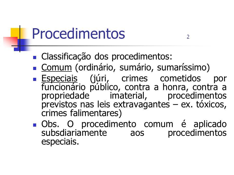 Procedimentos 2 Classificação dos procedimentos: Comum (ordinário, sumário, sumaríssimo) Especiais (júri, crimes cometidos por funcionário público, co