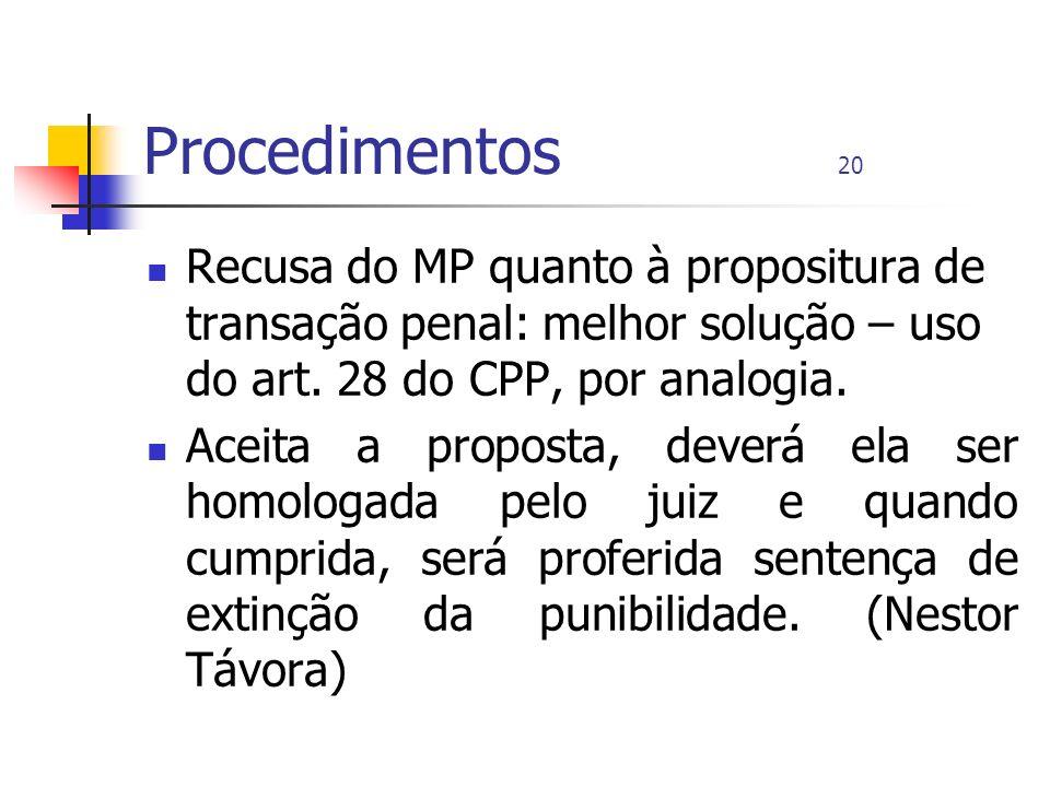 Procedimentos 20 Recusa do MP quanto à propositura de transação penal: melhor solução – uso do art. 28 do CPP, por analogia. Aceita a proposta, deverá