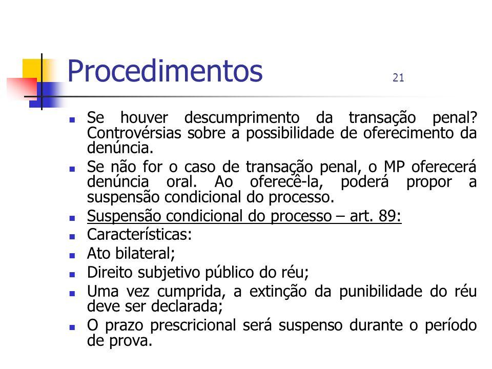 Procedimentos 21 Se houver descumprimento da transação penal? Controvérsias sobre a possibilidade de oferecimento da denúncia. Se não for o caso de tr