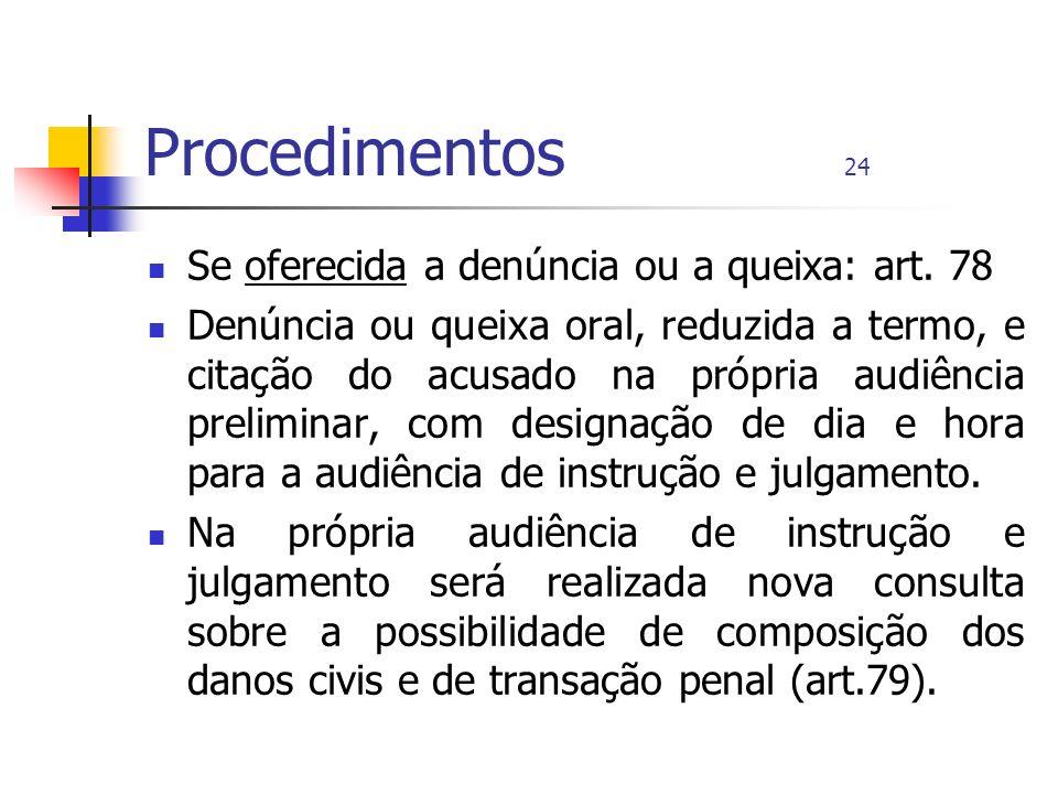 Procedimentos 24 Se oferecida a denúncia ou a queixa: art. 78 Denúncia ou queixa oral, reduzida a termo, e citação do acusado na própria audiência pre