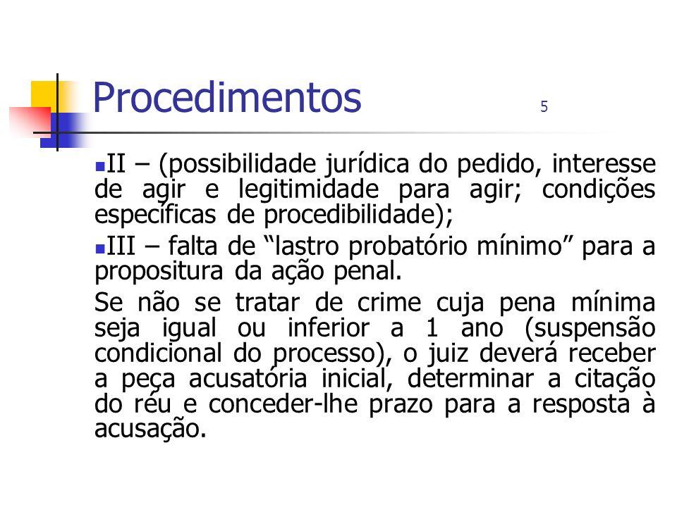 Procedimentos 5 II – (possibilidade jurídica do pedido, interesse de agir e legitimidade para agir; condições específicas de procedibilidade); III – f