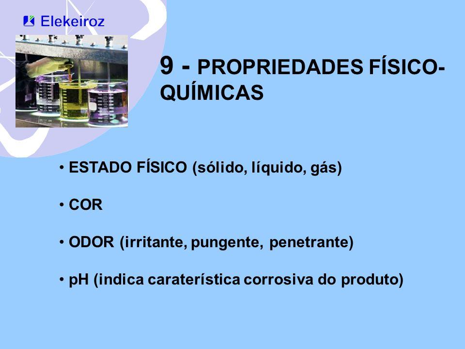 9 - PROPRIEDADES FÍSICO- QUÍMICAS ESTADO FÍSICO (sólido, líquido, gás) COR ODOR (irritante, pungente, penetrante) pH (indica caraterística corrosiva d