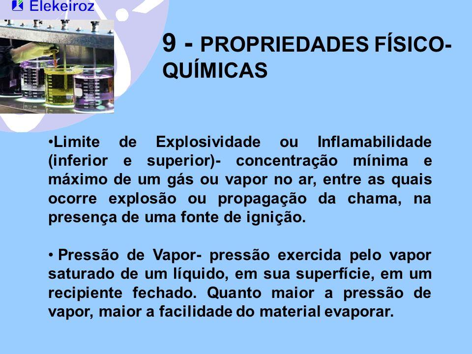 9 - PROPRIEDADES FÍSICO- QUÍMICAS Limite de Explosividade ou Inflamabilidade (inferior e superior)- concentração mínima e máximo de um gás ou vapor no