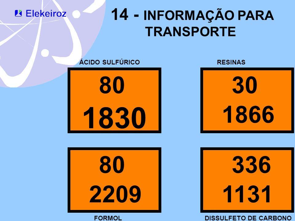 14 - INFORMAÇÃO PARA TRANSPORTE 80 1830 ÁCIDO SULFÚRICO 30 1866 80 2209 336 1131 RESINAS FORMOLDISSULFETO DE CARBONO
