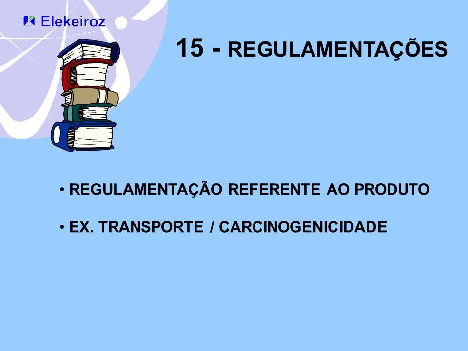 15 - REGULAMENTAÇÕES REGULAMENTAÇÃO REFERENTE AO PRODUTO EX. TRANSPORTE / CARCINOGENICIDADE