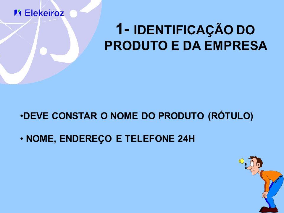 1- IDENTIFICAÇÃO DO PRODUTO E DA EMPRESA DEVE CONSTAR O NOME DO PRODUTO (RÓTULO) NOME, ENDEREÇO E TELEFONE 24H