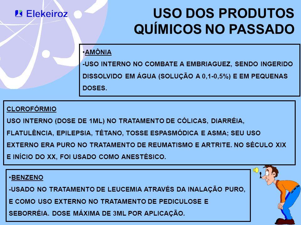 USO DOS PRODUTOS QUÍMICOS NO PASSADO AMÔNIA -USO INTERNO NO COMBATE A EMBRIAGUEZ, SENDO INGERIDO DISSOLVIDO EM ÁGUA (SOLUÇÃO A 0,1-0,5%) E EM PEQUENAS