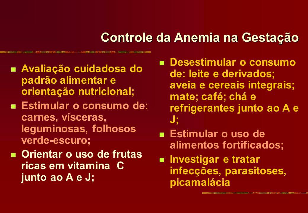 Controle da Anemia na Gestação Avaliação cuidadosa do padrão alimentar e orientação nutricional; Estimular o consumo de: carnes, vísceras, leguminosas