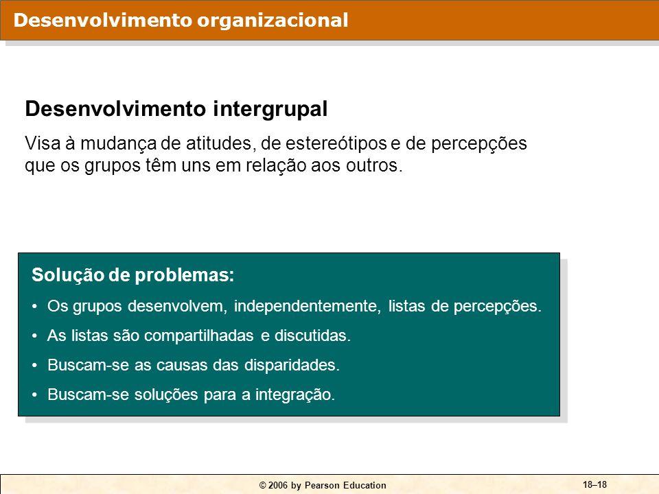 © 2006 by Pearson Education 18–17 Atividades da construção de equipes: A fixação de objetivos. O desenvolvimento das relações interpessoais entre os m