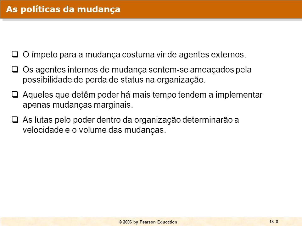© 2006 by Pearson Education 18–8 O ímpeto para a mudança costuma vir de agentes externos.