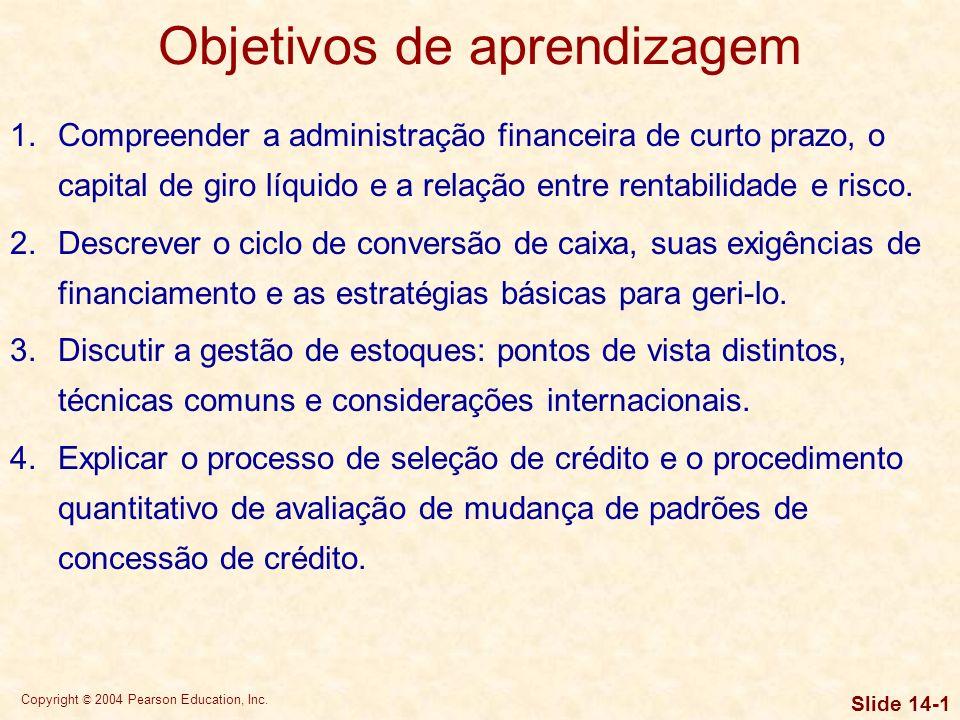 Copyright © 2004 Pearson Education, Inc. Slide 14-0 Capítulo14 Capital de giro e gestão de ativos circulantes