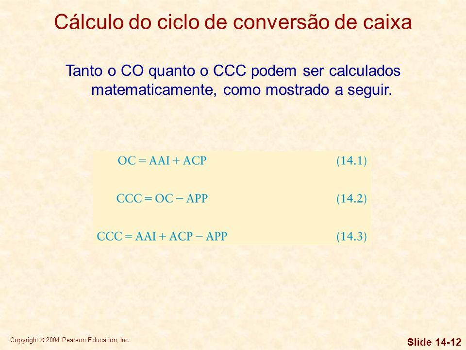 Copyright © 2004 Pearson Education, Inc. Slide 14-11 Cálculo do ciclo de conversão de caixa O ciclo operacional (CO) é o prazo desde a encomenda de ma