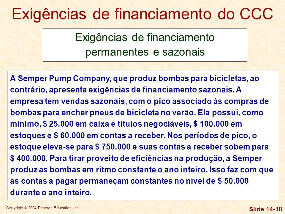 Copyright © 2004 Pearson Education, Inc. Slide 14-17 Exigências de financiamento do CCC Exigências de financiamento permanentes e sazonais A Nicholson