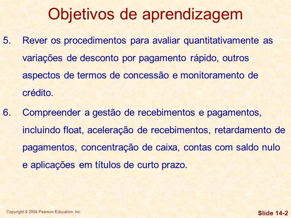 Copyright © 2004 Pearson Education, Inc. Slide 14-1 Objetivos de aprendizagem 1.Compreender a administração financeira de curto prazo, o capital de gi