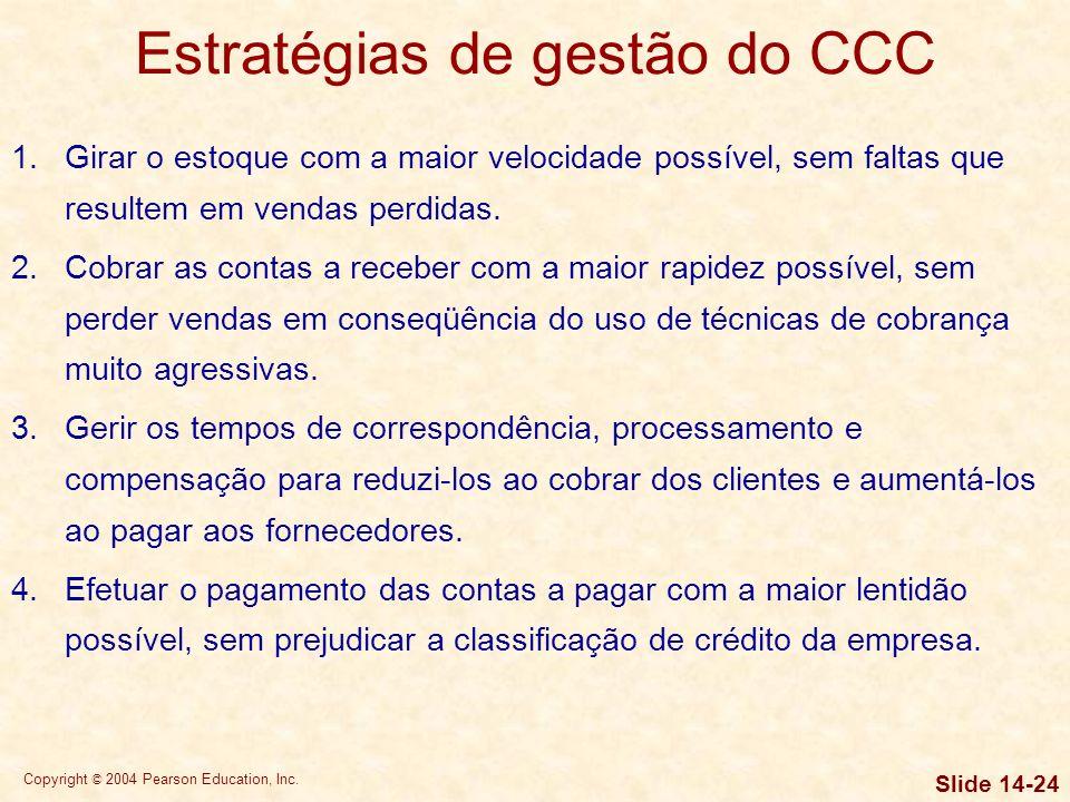 Copyright © 2004 Pearson Education, Inc. Slide 14-23 Exigências de financiamento do CCC Estratégias agressivas e conservadoras de financiamento sazona