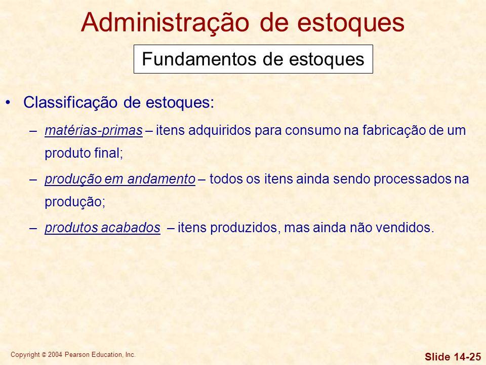 Copyright © 2004 Pearson Education, Inc. Slide 14-24 Estratégias de gestão do CCC 1.Girar o estoque com a maior velocidade possível, sem faltas que re