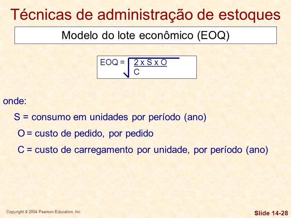 Copyright © 2004 Pearson Education, Inc. Slide 14-27 Técnicas de administração de estoques O sistema ABC de administração classifica os estoques em tr