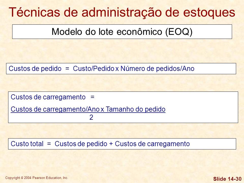 Copyright © 2004 Pearson Education, Inc. Slide 14-29 Técnicas de administração de estoques EOQ = 2 x S x O C Suponha-se que a RLB, Inc., fabricante de