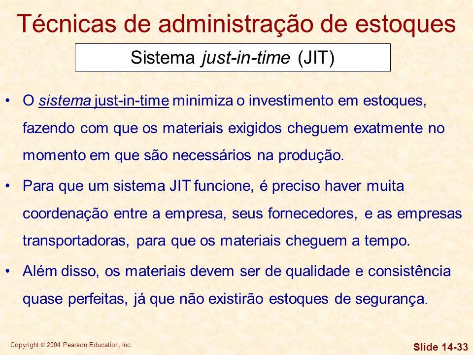 Copyright © 2004 Pearson Education, Inc. Slide 14-32 Técnicas de administração de estoques Ponto de emissão de novo pedido Ponto de pedido = 10 x 4,44