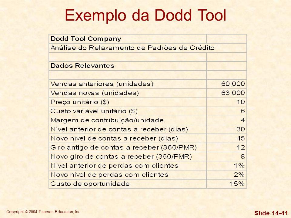 Copyright © 2004 Pearson Education, Inc. Slide 14-40 Exemplo da Dodd Tool Dodd Tool, uma empresa fabricante de ferramentas de moldagem, está atualment