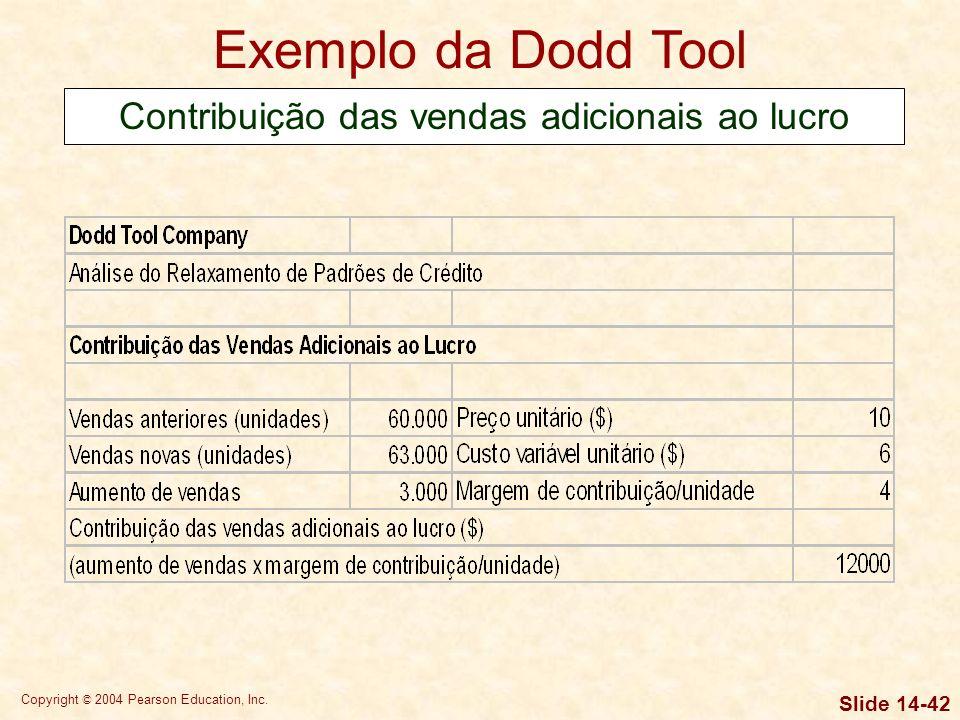 Copyright © 2004 Pearson Education, Inc. Slide 14-41 Exemplo da Dodd Tool