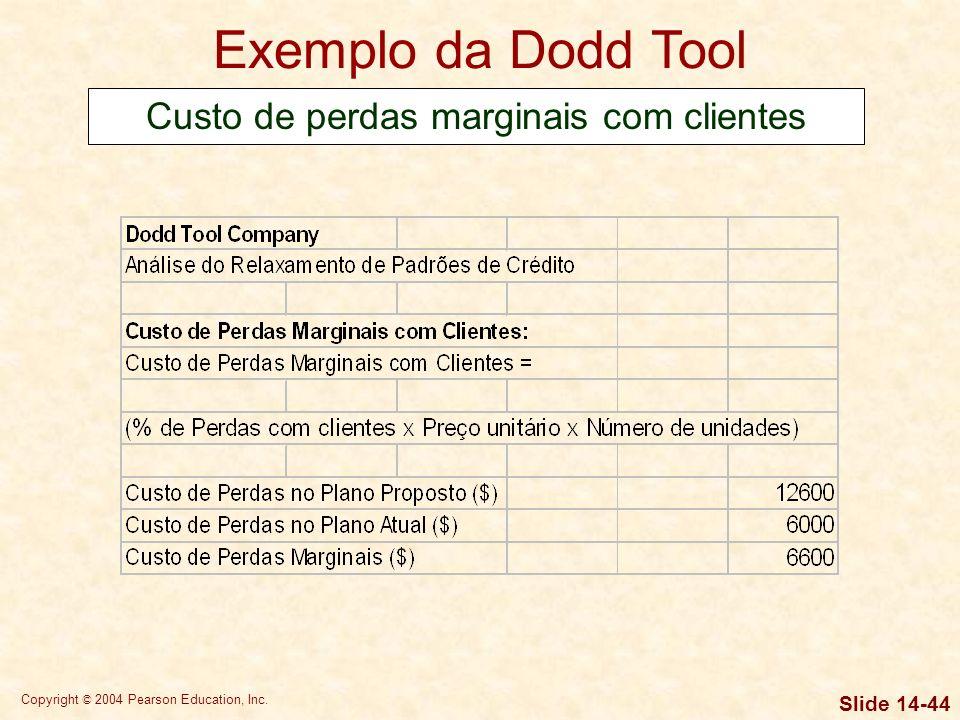 Copyright © 2004 Pearson Education, Inc. Slide 14-43 Exemplo da Dodd Tool Custo do investimento marginal em contas a receber