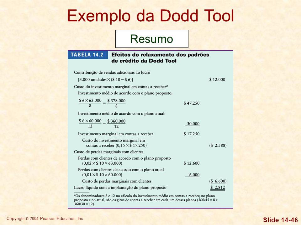 Copyright © 2004 Pearson Education, Inc. Slide 14-45 Exemplo da Dodd Tool Lucro líquido com a implantação do plano proposto