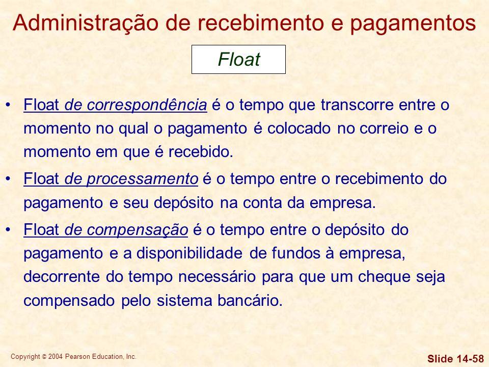 Copyright © 2004 Pearson Education, Inc. Slide 14-57 Administração de recebimento e pagamentos Float de cobrança é o intervalo de tempo entre o moment