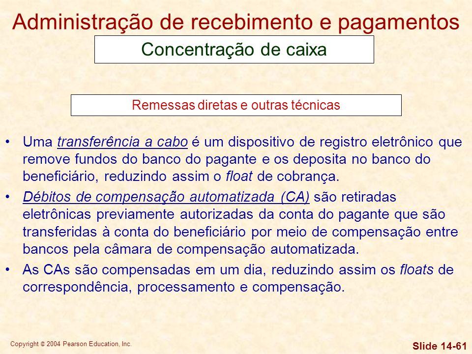 Copyright © 2004 Pearson Education, Inc. Slide 14-60 O desembolso controlado envolve o uso estratégico de pontos de envio de correspondência e contas