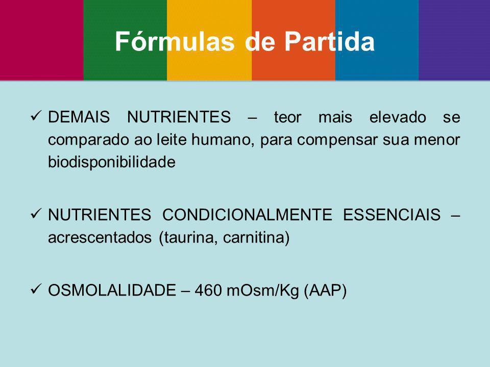 DEMAIS NUTRIENTES – teor mais elevado se comparado ao leite humano, para compensar sua menor biodisponibilidade NUTRIENTES CONDICIONALMENTE ESSENCIAIS