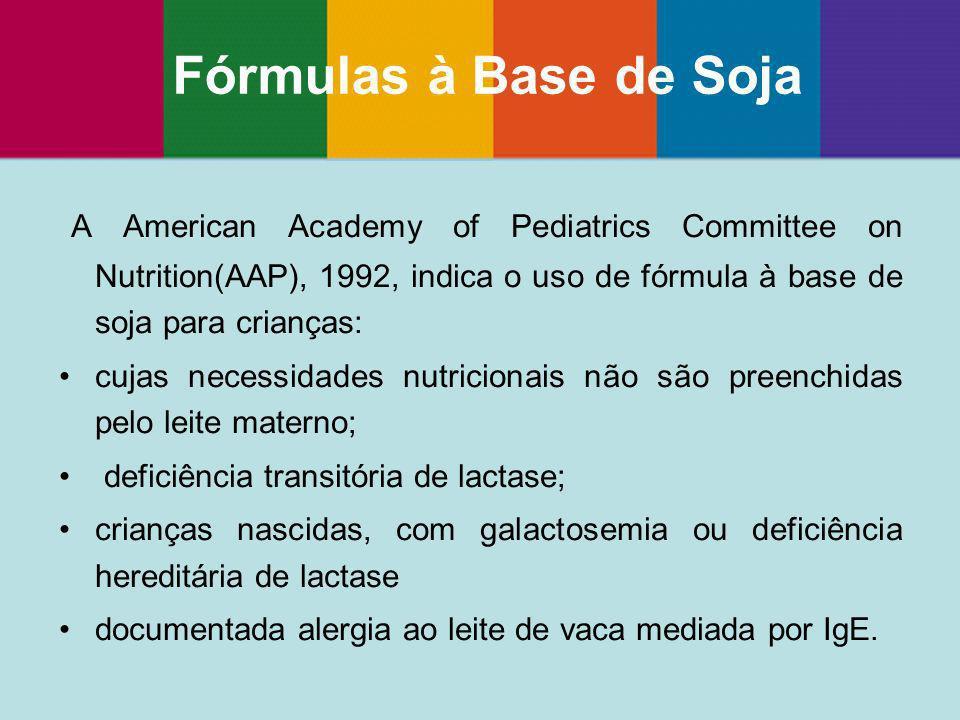 A American Academy of Pediatrics Committee on Nutrition(AAP), 1992, indica o uso de fórmula à base de soja para crianças: cujas necessidades nutricion