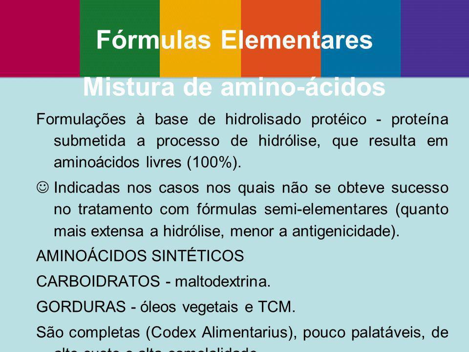 Formulações à base de hidrolisado protéico - proteína submetida a processo de hidrólise, que resulta em aminoácidos livres (100%). Indicadas nos casos