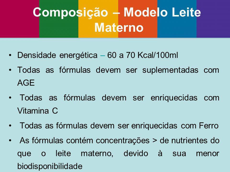 Densidade energética – 60 a 70 Kcal/100ml Todas as fórmulas devem ser suplementadas com AGE Todas as fórmulas devem ser enriquecidas com Vitamina C To