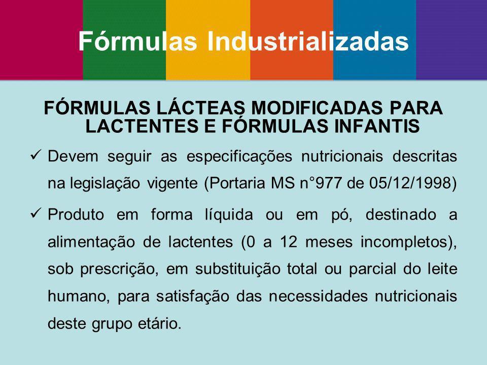FÓRMULAS LÁCTEAS MODIFICADAS PARA LACTENTES E FÓRMULAS INFANTIS Devem seguir as especificações nutricionais descritas na legislação vigente (Portaria
