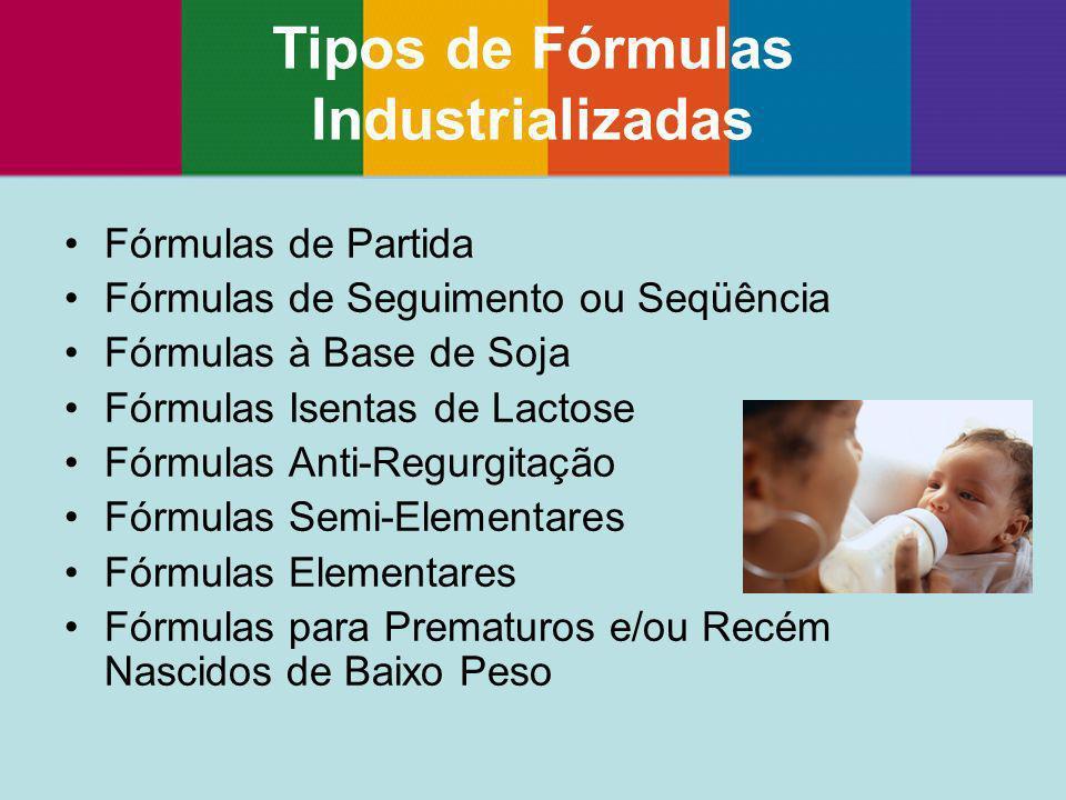 Fórmulas de Partida Fórmulas de Seguimento ou Seqüência Fórmulas à Base de Soja Fórmulas Isentas de Lactose Fórmulas Anti-Regurgitação Fórmulas Semi-E