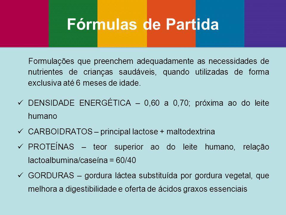 Formulações que preenchem adequadamente as necessidades de nutrientes de crianças saudáveis, quando utilizadas de forma exclusiva até 6 meses de idade