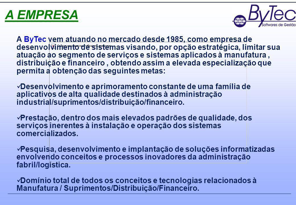 A EMPRESA A ByTec vem atuando no mercado desde 1985, como empresa de desenvolvimento de sistemas visando, por opção estratégica, limitar sua atuação a