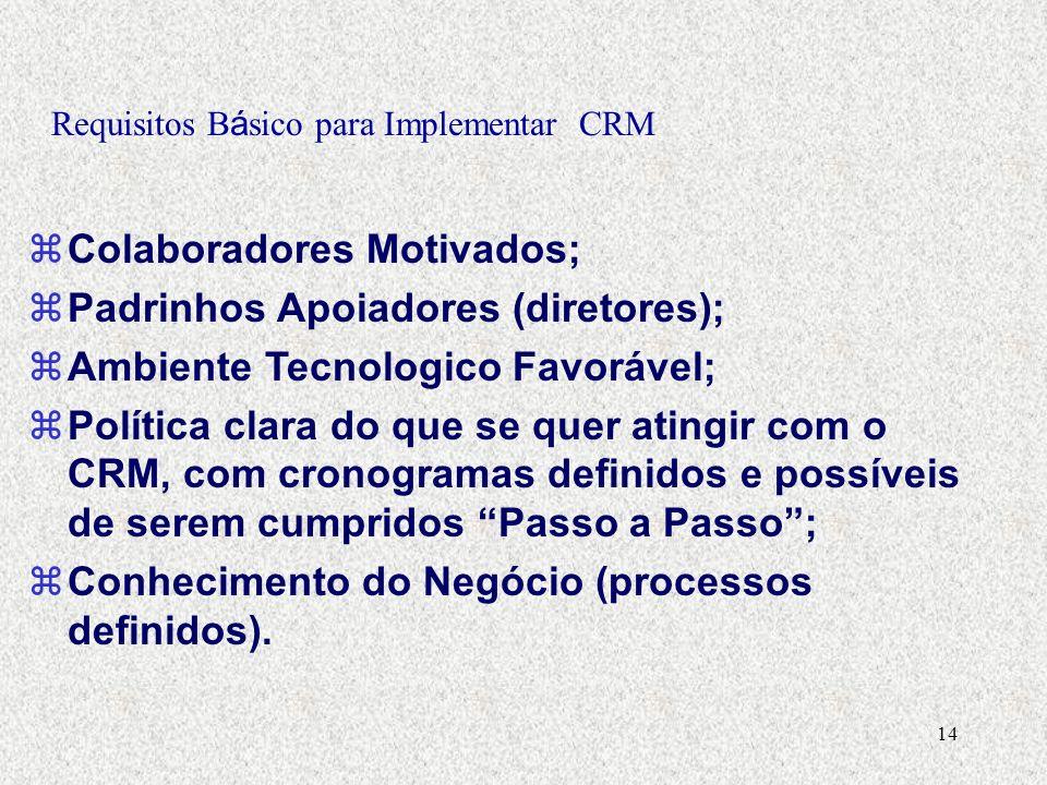 14 Requisitos B á sico para Implementar CRM zColaboradores Motivados; zPadrinhos Apoiadores (diretores); zAmbiente Tecnologico Favorável; zPolítica clara do que se quer atingir com o CRM, com cronogramas definidos e possíveis de serem cumpridos Passo a Passo; zConhecimento do Negócio (processos definidos).